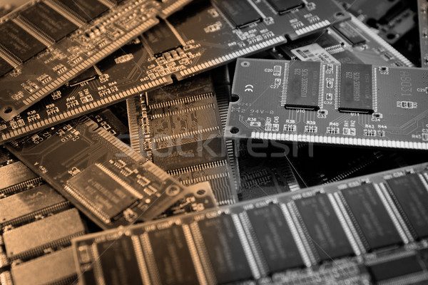 Collage diverso computer componenti rosso digitale Foto d'archivio © pxhidalgo