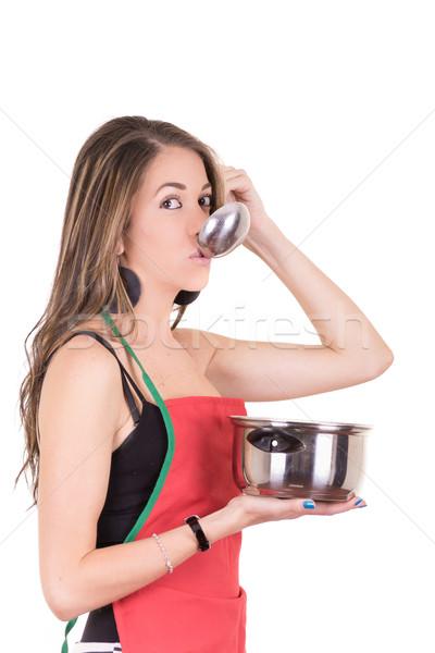 Pişirme kadın önlük kız el Stok fotoğraf © pxhidalgo