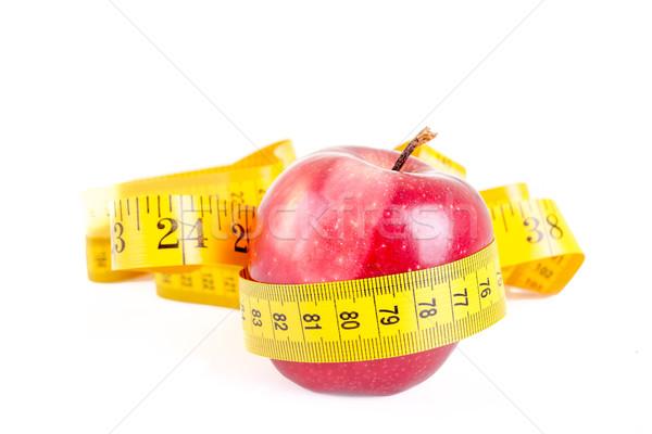 красное яблоко измерение изолированный белый фитнес фон Сток-фото © pxhidalgo