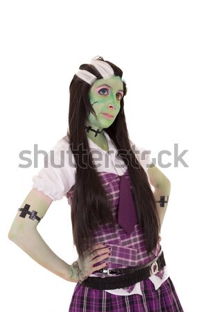 woman in Frankenstein costume with bat Stock photo © pxhidalgo