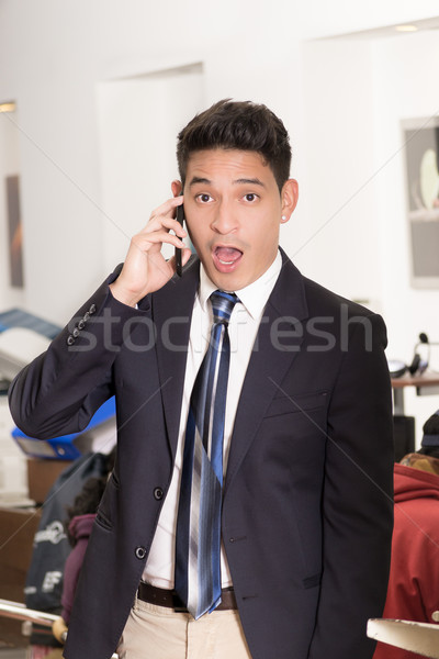 Portrait of hispanic man with shocked facial expression Stock photo © pxhidalgo