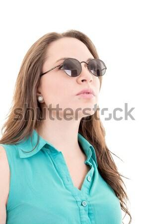 Kadın güneş gözlüğü yalıtılmış beyaz eller moda Stok fotoğraf © pxhidalgo