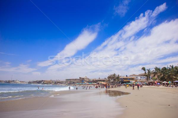 Sörfçü plaj Peru manzara yaz okyanus Stok fotoğraf © pxhidalgo