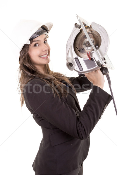 Woman holding circular saw Stock photo © pxhidalgo