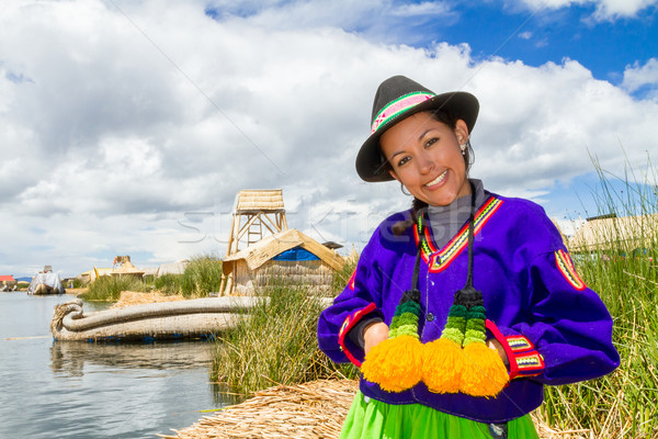 Indian woman in Peru at lake Titicaca Stock photo © pxhidalgo