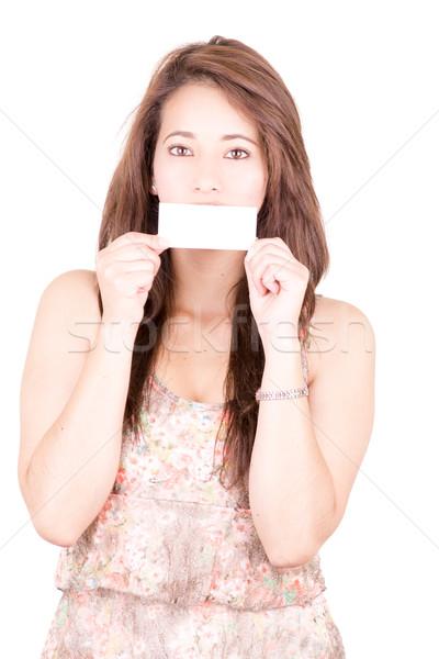 Nő befogja száját üres kártya lány arc modell Stock fotó © pxhidalgo