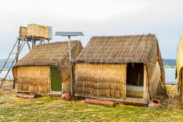 Mão casas Peru painéis solares artificial Foto stock © pxhidalgo