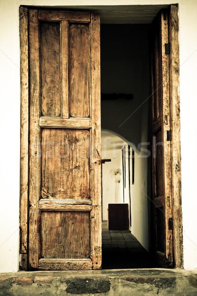 Stockfoto: Deur · oude · spaans · kleur · huis · gebouw