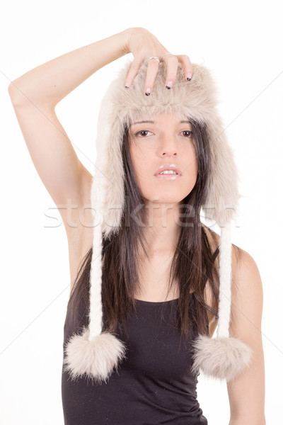 Beautiful Girl in Furry Hat. Winter Woman Portrait Stock photo © pxhidalgo