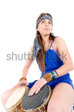 Happy young pretty woman playing drum Stock photo © pxhidalgo