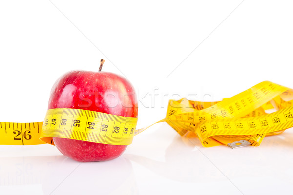 Mela rossa misurazione isolato bianco fitness sfondo Foto d'archivio © pxhidalgo