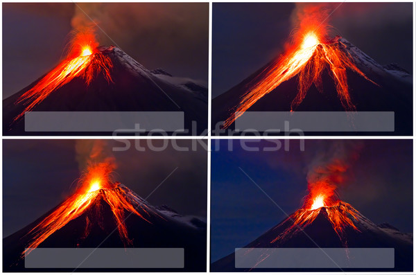 ストックフォト: 火山 · コラージュ · 雲 · 自然 · 煙