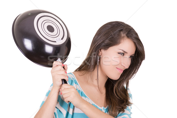 Angry hispanic woman with saucepan in one hand Stock photo © pxhidalgo