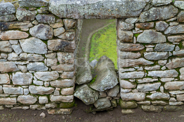 Fragment oude muur Machu Picchu ruines huis Stockfoto © pxhidalgo