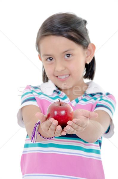 adorable little girl eating an apple solated against white background Stock photo © pxhidalgo