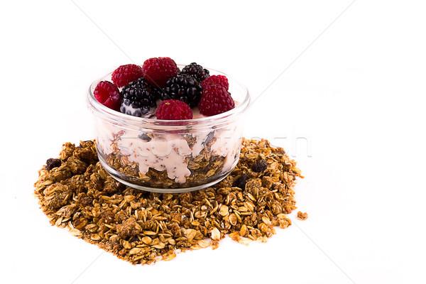 Yogourt muesli baies fraise déjeuner tasse Photo stock © pxhidalgo