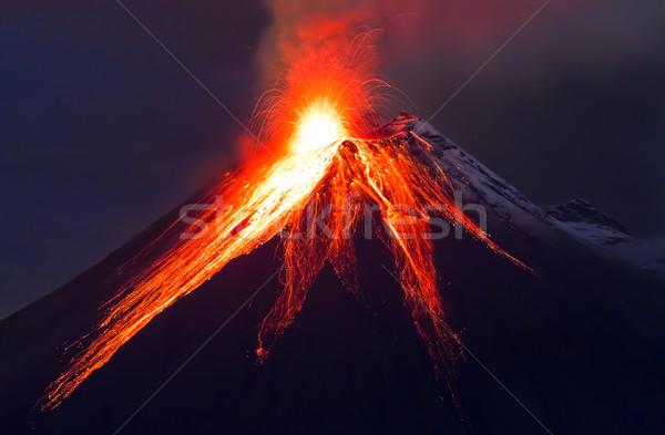 Vulkaan uitbarsting lange blootstelling Blauw hemel Stockfoto © pxhidalgo
