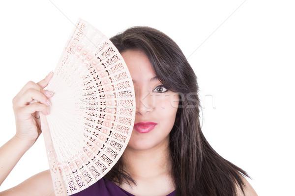 Pretty girl fanning herself Stock photo © pxhidalgo