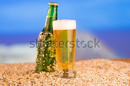 photo of chilled beer and a bottle Stock photo © pxhidalgo