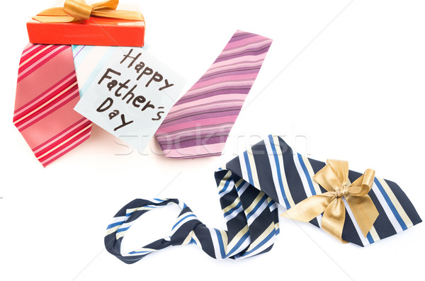Happy Fathers Day tag with gift boxes and tie Stock photo © pxhidalgo