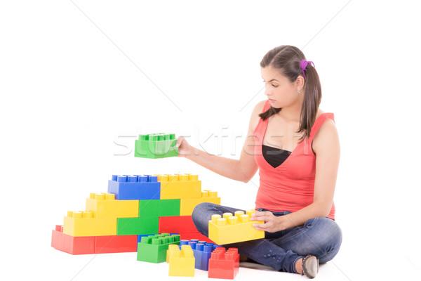 woman playing with blocks Stock photo © pxhidalgo