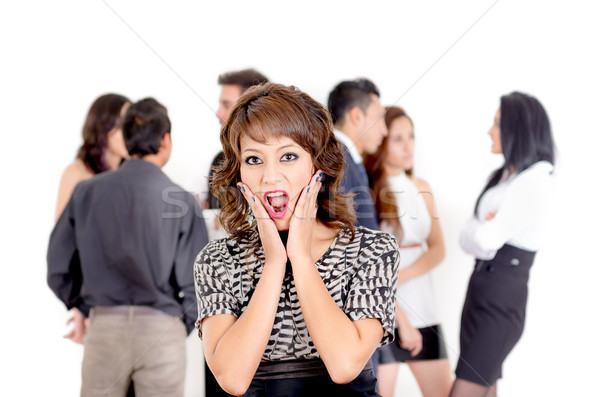Stock photo: Beautiful young business women surprised
