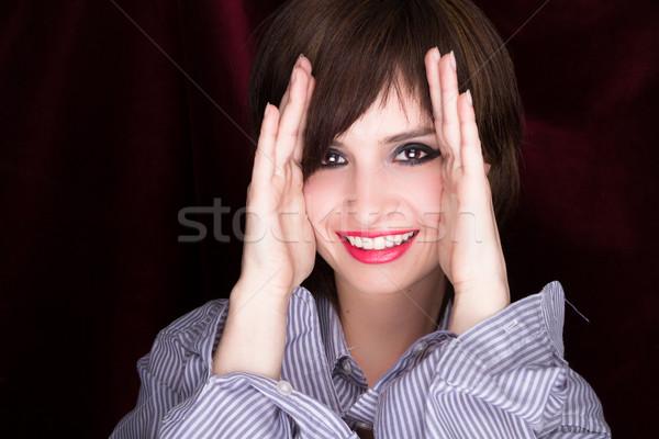 Vrouw handen wangen zwarte vrouw zwarte hand Stockfoto © pxhidalgo