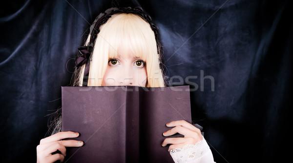 Mooie jonge meisje lezing boek cosplay Stockfoto © pxhidalgo
