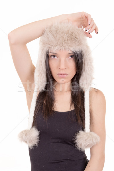 Beautiful Girl in Furry Hat. Winter Woman Portrait Stock photo © pxhidalgo