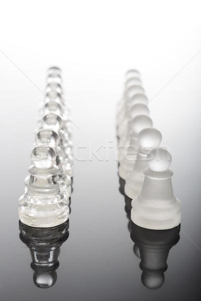átlátszó üveg sakkfigurák asztal háború sakk Stock fotó © pxhidalgo