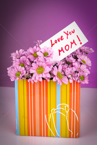 Geschenk moeders bloem achtergrond moeder kaart Stockfoto © pxhidalgo