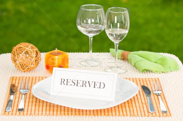 Reserved sign in dinner plate Stock photo © pxhidalgo