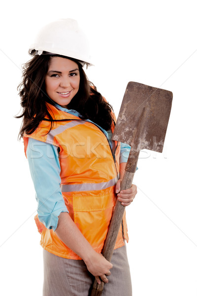 Female construction worker holding plans and spade Stock photo © pxhidalgo