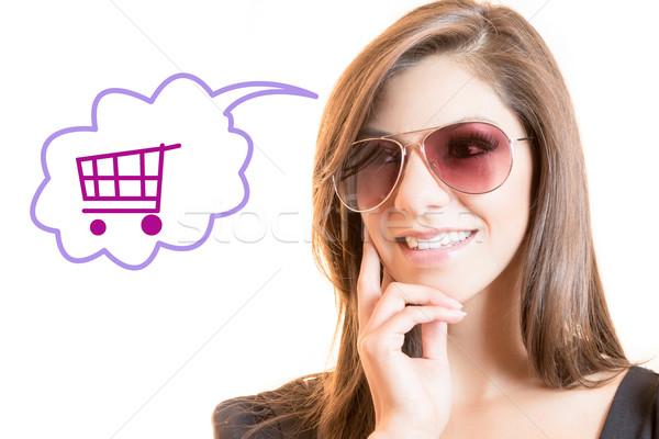 Mooie latino vrouw denken winkelen meisje Stockfoto © pxhidalgo