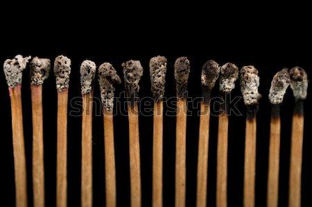 burnt matches, close-up, black background Stock photo © pxhidalgo