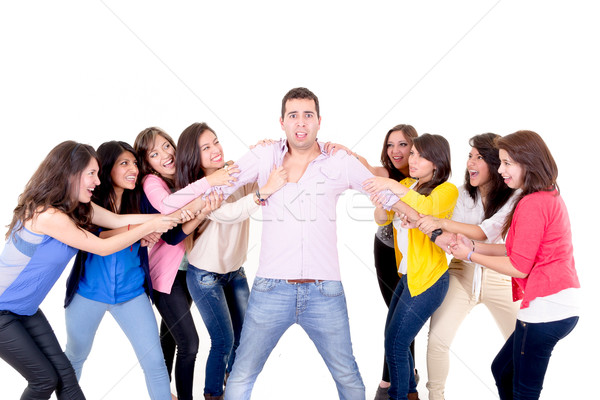 Eight Girls fighting over a guy Stock photo © pxhidalgo