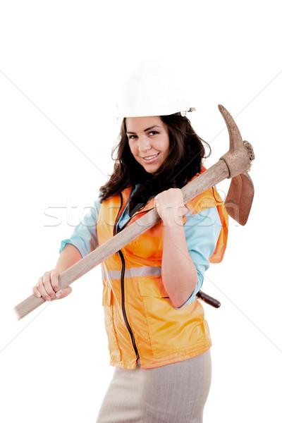 женщины топор строительство синий промышленности работник Сток-фото © pxhidalgo