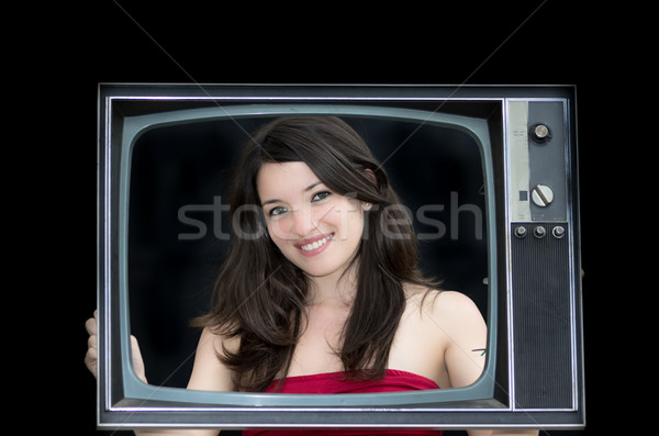 young woman with old tv frame photo Stock photo © pxhidalgo