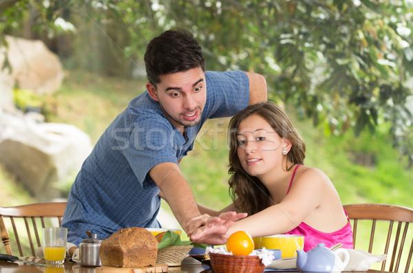 Couple déjeuner maison jardin bois Photo stock © pxhidalgo