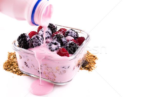 yogurt with muesli and berries Stock photo © pxhidalgo