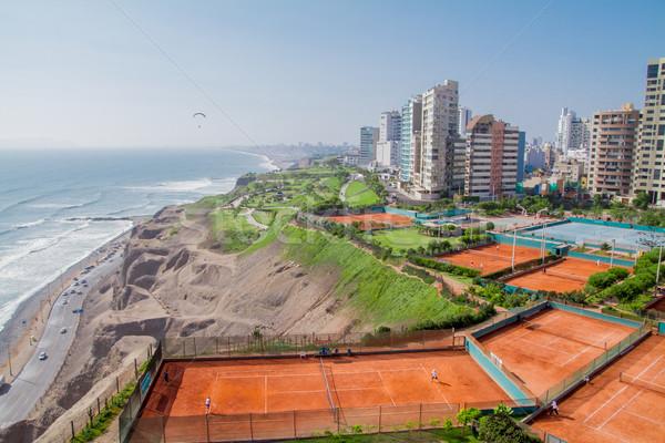 Kilátás park Lima Peru légifelvétel tengerpart Stock fotó © pxhidalgo