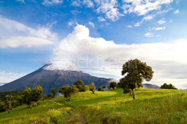 Stock fotó: Vulkán · kitörés · napfelkelte · Ecuador · naplemente · hegy