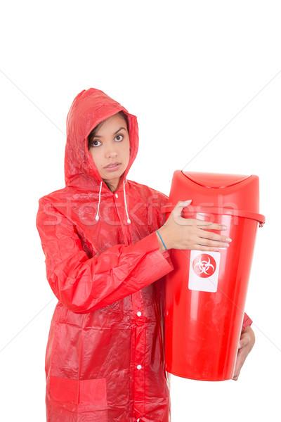 woman Warning because of hazard waste (radioactive) Stock photo © pxhidalgo