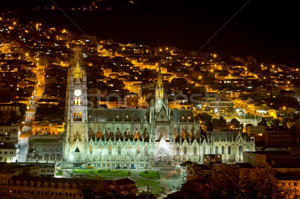 Katedrális Ecuador bazilika éjszaka lövés égbolt Stock fotó © pxhidalgo