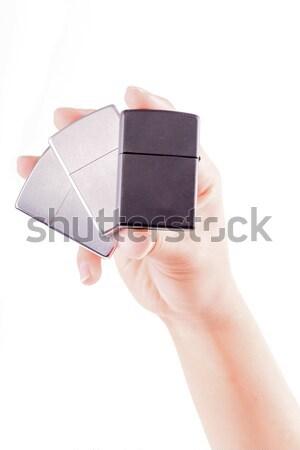Сток-фото: стороны · металл · изолированный · белый · женщину