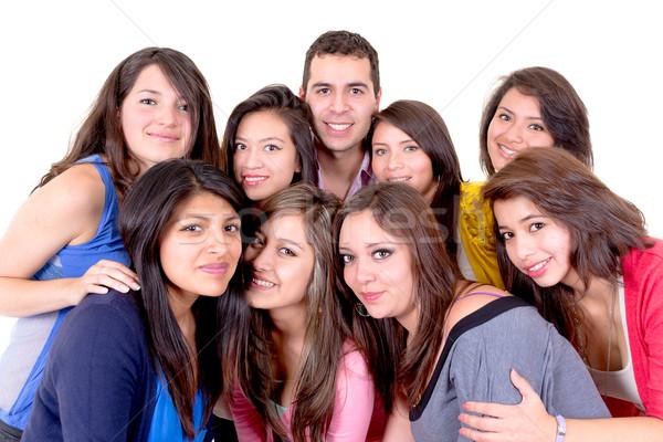 Grupo pessoas felizes branco festa isolado menina Foto stock © pxhidalgo