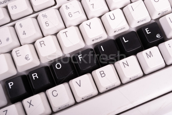 Word Profile written with black keys on computer keyboard. Stock photo © pxhidalgo