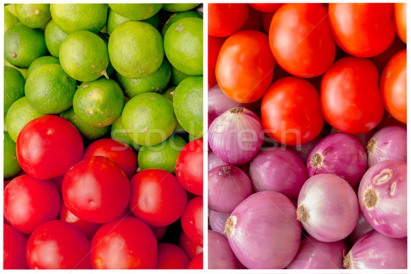 Collage of colorful vegetables and fruits grocery basket. Stock photo © pxhidalgo