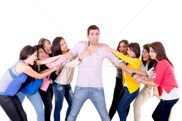 Acht meisjes vechten vent liefde vrouwen Stockfoto © pxhidalgo