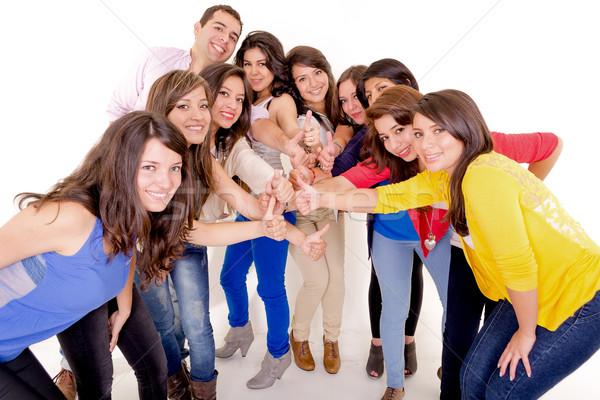 Grupo pessoas felizes mãos isolado branco menina Foto stock © pxhidalgo